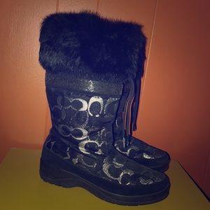Coach Lizzie Black/Silver Rabbit Fur Cuff Boots